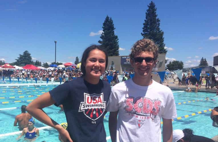 Swimmers Amalie Fackenthal and Joe Zales at the section championships at Tokay High School in Lodi.